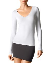 Wolford | White Slim-fit V-neck Tee | Lyst