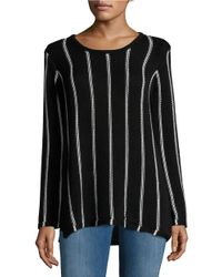 Calvin Klein   Black Hi-lo Cotton Striped Sweater   Lyst