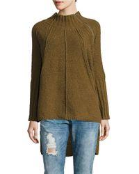 Free People | Green Mockneck Hi-lo Sweater | Lyst
