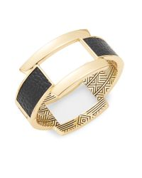 House of Harlow 1960 - Black Leather-accented Goldtone Bangle Bracelet - Lyst