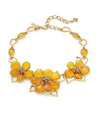 Oscar de la Renta | Yellow Crystal And Cobochon Flower Collar Necklace | Lyst