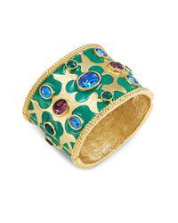 Oscar de la Renta | Green Goldtone Crystal-accented Cuff Bracelet | Lyst
