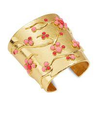 Oscar de la Renta | Orange Goldtone Floral Cluster Cuff Bracelet | Lyst