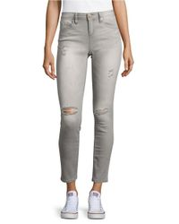 Lord & Taylor | Gray Distressed Skinny Jeans - Charcoal | Lyst