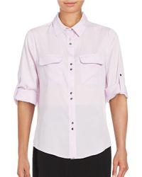 Ivanka Trump | Purple Long Sleeve Crepe Button-front Shirt | Lyst