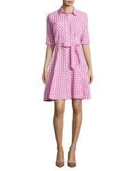 Isaac Mizrahi New York   Pink Gingham A-line Shirtdress   Lyst