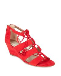 Bandolino | Red Opiuma Faux Suede Wedge Sandals | Lyst