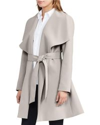 Lauren by Ralph Lauren | Gray Crepe Open Front Coat | Lyst
