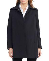 Lauren by Ralph Lauren | Black Solid Long-sleeve A-line Coat | Lyst