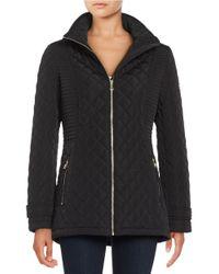 Calvin Klein | Black Quilted Mockneck Coat | Lyst