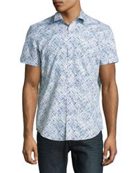 Calvin Klein | Blue Abstract Patterned Sportshirt for Men | Lyst
