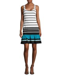 MICHAEL Michael Kors | Blue Striped Knit Fit And Flare Dress | Lyst