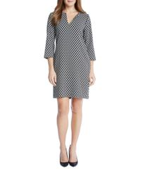 Karen Kane - Gray Diamond Print Shift Dress - Lyst
