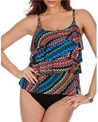 Miraclesuit | Black Tiering Up Layered Tankini Swim Top | Lyst