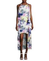 Belle By Badgley Mischka | Multicolor Belle Printed And Ruffled Asymmetric Dress | Lyst