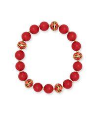 Anne Klein | Red Goldtone Epoxy Stone Beaded Stretch Bracelet | Lyst