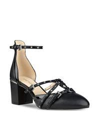 Nine West | Black Abla Almond Toe Leather Pumps | Lyst