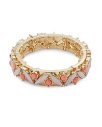 R.j. Graziano | Multicolor Cabochon And Crystal Stretch Bracelet | Lyst