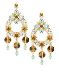 R.j. Graziano | Metallic Cabochon And Crystal Drop Hoop Earrings | Lyst