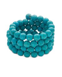 Kenneth Jay Lane   Blue Turquoise Beaded Coil Bracelet   Lyst