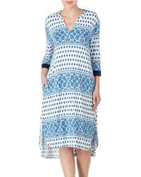 Ellen Tracy | Blue Printed Tunic Nightgown | Lyst