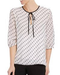Ellen Tracy | White Printed Tie-up-accent Pullover Top | Lyst