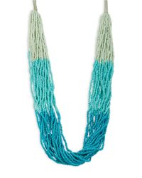 Lord & Taylor | Blue Multi-row Beaded Necklace | Lyst