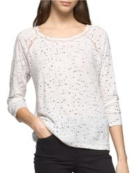 Calvin Klein Jeans | Multicolor Speckled Linen-blend Top | Lyst