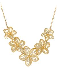 Lord & Taylor | Metallic Richline 14k Yellow Gold Flower String And Mesh Leaves Pendant Necklace | Lyst