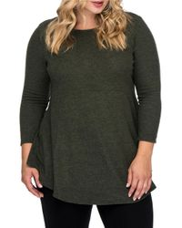 B Collection By Bobeau | Green Plus Roundneck Fit-and-flare Knit Top | Lyst