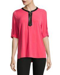 Calvin Klein   Pink Quarter-zip Contrast Top   Lyst