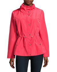 Calvin Klein   Pink Mockneck Rain Coat   Lyst