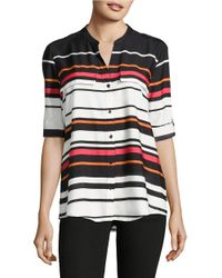 Calvin Klein | Black Printed Button-front Blouse | Lyst
