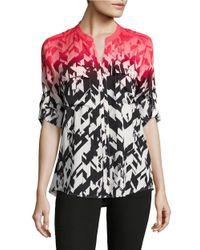 Calvin Klein | Pink Geometric Button-front Blouse | Lyst