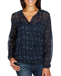 Lucky Brand | Blue Printed Long Sleeve Top | Lyst