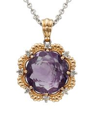Lord & Taylor   Purple Amethyst, Diamond 14k Silver And Rose Gold Necklace   Lyst