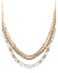 Lucky Brand   Metallic Sun Kissed Moments Semi-precious Rock Crystal Dual-tone Beaded Leather Collar Necklace   Lyst