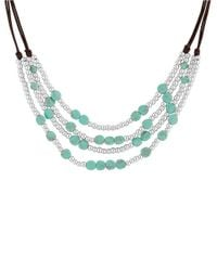 Lucky Brand | Blue Key Items Semi-precious Reconstituted Calcite And Rock Crystal Silvertone Turquoise Beaded Collar Necklace | Lyst