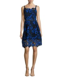 T Tahari   Blue Lace Fit And Flare Dress   Lyst