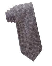 Calvin Klein   Gray Silk And Linen Textured Tie for Men   Lyst