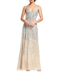 Adrianna Papell | Multicolor Beaded Surplice Gown | Lyst