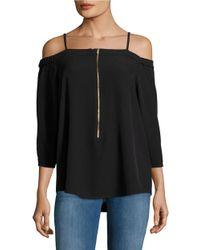 Calvin Klein | Black Zip-accented Off-the-shoulder Top | Lyst