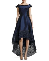 Betsy & Adam | Blue Lace-trimmed Hi-lo Gown | Lyst