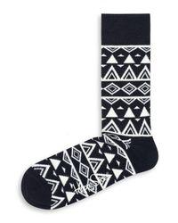 Happy Socks | Black Triangle Print Crew Socks for Men | Lyst