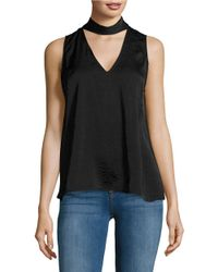 Lord & Taylor | Black Solid Sleeveless Choker Top | Lyst