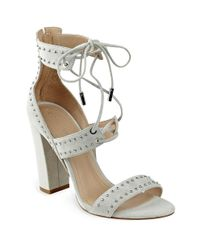 Kendall + Kylie | Natural Dawn Studded Suede Lace-up Sandals | Lyst
