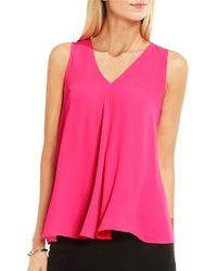 Vince Camuto | Pink Petite V-neck Drape Front Blouse | Lyst