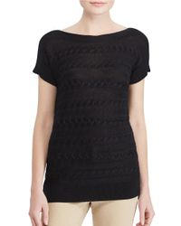 Lauren by Ralph Lauren | Black Cable-knit Ribbed Sweater | Lyst