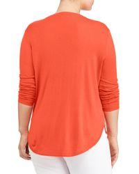Lauren by Ralph Lauren - Orange Plus Silk-blend V-neck Sweater - Lyst