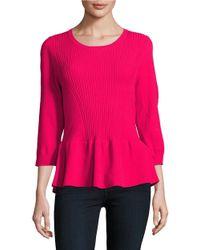 Ivanka Trump | Pink Ribbed Peplum Sweater | Lyst